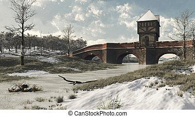 medieval, invierno, puente