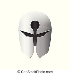 Medieval iron helmet vector illustration isolated on white background