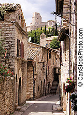 Medieval Italian street in Assisi