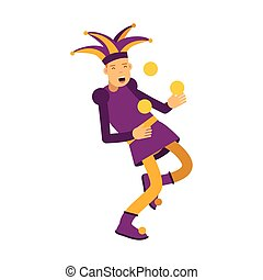 Medieval jester character juggling with balls, colorful vector Illustration