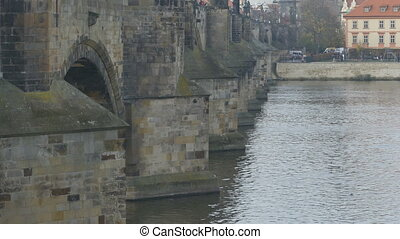 Medieval Karol Bridge in Prague - Long shot of medieval...