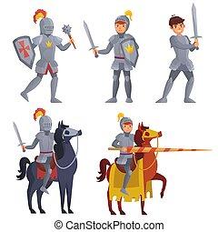 Medieval khight holding sword, royal knight with lance on horseback