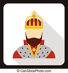 Medieval King icon, flat style