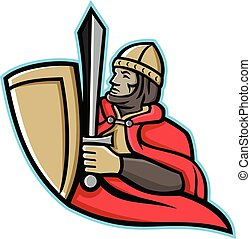 medieval-king-with-shield-sword-side-MASCOT - Mascot icon ...