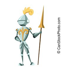 Medieval Kingdom Character. Isolated knight in historical costume on a white background. Vector personage with spear