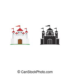 Medieval kingdom icon and silhouette