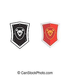Medieval kingdom shield icon and silhouette