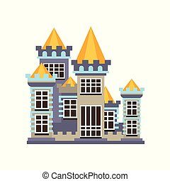 Medieval kingdom stone castle vector Illustration on a white background