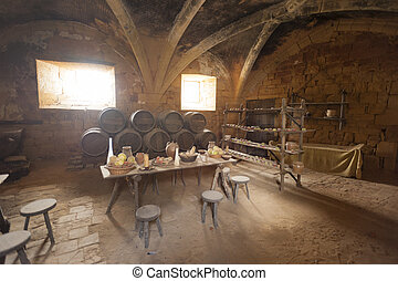 Medieval Ancient Kitchen Table With Typical Food In Royal Castle