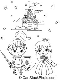 Little boy as a knight and girl as a princess coloring page