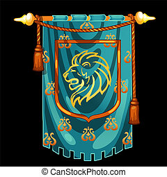 Medieval knight banner with image the head of a lion isolated on black background. Vector illustration.