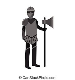 Medieval knight character full body armor suit colorful vector Illustration