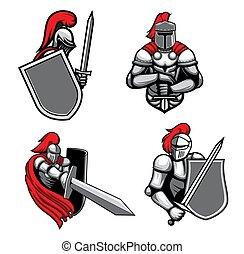 Medieval knight characters mascots cartoon vector