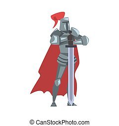 Medieval Knight, Chivalry Warrior Character in Full Heavy Body Armor with Sword Cartoon Style Vector Illustration