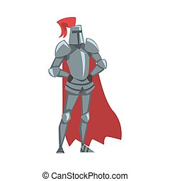 Medieval Knight, Chivalry Warrior Character in Full Metal Body Armor and Red Cape Cartoon Style Vector Illustration
