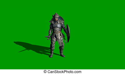 medieval knight fighting with swords and shield isolated on...