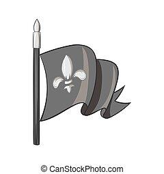 Medieval knight flag icon, black monochrome style
