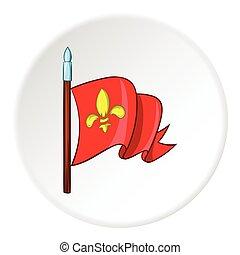 Medieval knight flag icon, cartoon style