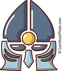 Medieval knight helmet icon, cartoon style