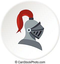 Medieval knight helmet icon circle