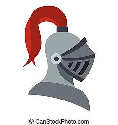 Medieval knight helmet icon, flat style