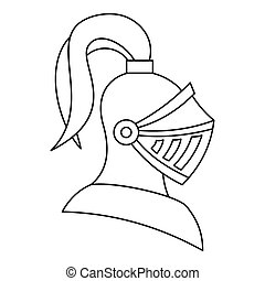 Medieval knight helmet icon, outline style