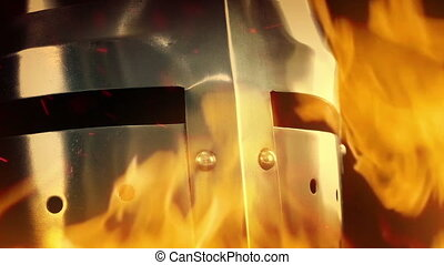 Medieval Knight Helmet In Flames - Passing a medieval...