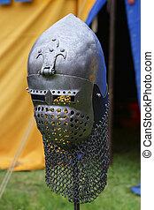 Medieval knight helmet.