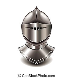 Medieval knight helmet isolated on white vector - Medieval...