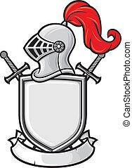 medieval knight helmet, shield, crossed swords and banner - coat of arms (knight head in helmet, heraldic composition)