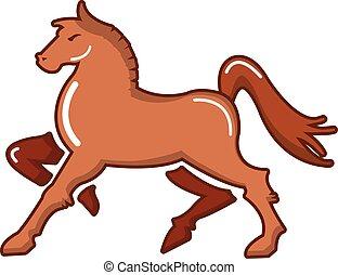 Medieval knight horse icon, cartoon style