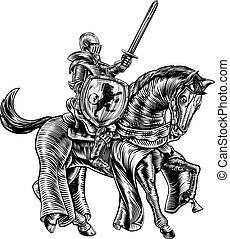 Medieval Knight Horse Vintage Woodblock Engraving