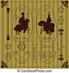 Medieval knight horseman and vintage elements vector background