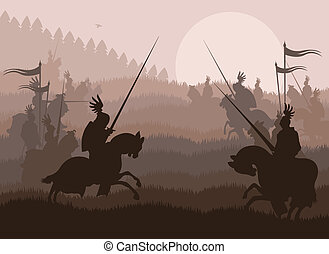 Medieval knight horseman and vintage elements vector