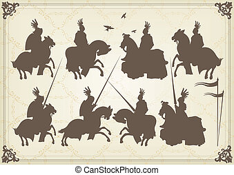 medieval knight horseman and vintage elements vector -...