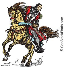 medieval knight horseman - Medieval knight riding his horse...
