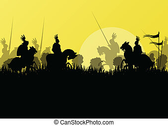 Medieval knight horseman silhouettes riding in battle field warfare illustration background vector