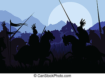 Medieval knight horseman silhouettes