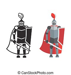 Medieval knight icon and silhouette