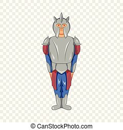 Medieval knight icon in cartoon style