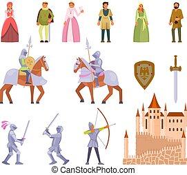 Medieval knight icon set, vector flat illustration