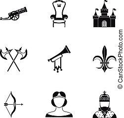 Medieval knight icons set, simple style