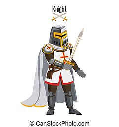 Medieval knight in armor, warroir, with a sword in his hand, cloak, helmet, attributes. Vector, illustration, cartoon style, isolated