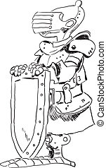 Medieval knight in armor with a shield. Cartoon drawing.
