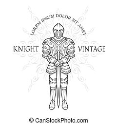 Medieval knight in armor with a sword.