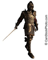 Medieval Knight in Decorated Armour with Sword