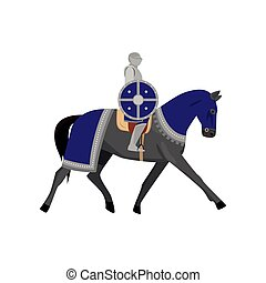 Medieval knight in metal armor with round violet shield