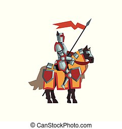 Medieval knight in shiny armor. Brave royal guardian sitting on horse and holding red flag. Flat vector design for postcard or story book