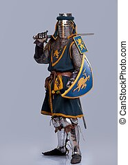 Medieval knight isolated on grey background.