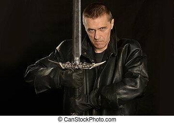 Medieval knight on a dark
